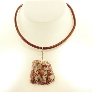 Brecciated Jasper Sterling Wirewrap Necklace